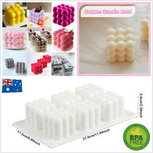 6 Cavities 3D Cube Candle Mould Silicone Wax Bubble Cake Dessert Plaster Mold AU