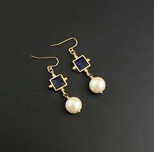 Fashion Gold Plated Blue Gem Pearl Hook Drop Earrings EH0946