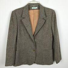 Womens Vintage 1970s Blazer Size M Tweed Wool Prestige Brown Blue