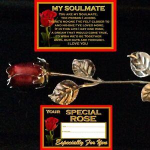 MY SOULMATE VERSE RED ROSE ENAMEL SILVER METAL LEAVES GIFT BIRTHDAY ANNIVERSARY