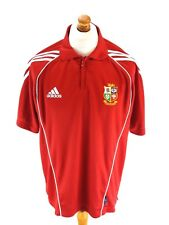 BRITISH LIONS Mens Rugby Polo Shirt 42/44 Medium Red Polyester 2005 New Zealand