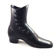 """Victorian Boot Door Stop Black Cast Iron 2 Pieces Button Up 8 1/2"""" Tall Vintage"""