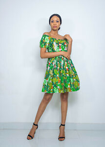Pepperfruit Women's African Print Summer Holiday Off Shoulder Sexy Mini Dress