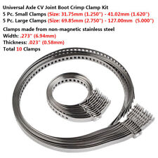 10 Universal CV Adjustable Axle Boot Joint Crimp Clamps Auto ATV Drive Shaft Kit