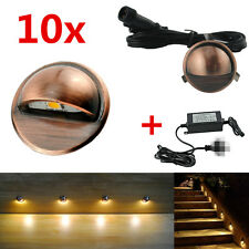 10x Warm White Coppering Half Moon Outdoor Garden Stair LED Deck Step Lights Kit