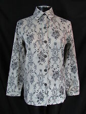 Chicos 0 Jacket S Long Sleeve Top Black Gray Brocade Jacket Button Front Top