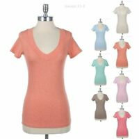 Womens Banded V Neck Basic Casual T Shirt Short Sleeve Cotton Top Comfy