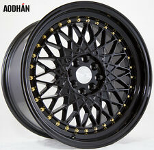 AODHAN AH05 17x9 4x100 / 4x114.3 +25 Full Black (Gold Rivet) (PAIR) wheels