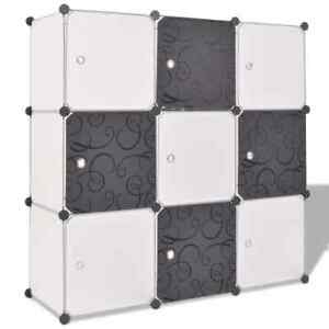 vidaXL Organisateur de Rangement Cube avec 9 Compartiments Noir/Blanc Etagères