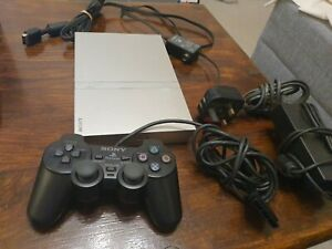 Sony Playstation 2 PS2 Small Slim Silver Console PAL + Dual Shock Pad SCPH-70003