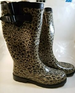 Capelli New York Women's Size 8 Rubber Rain Boots Leopard Print NEW