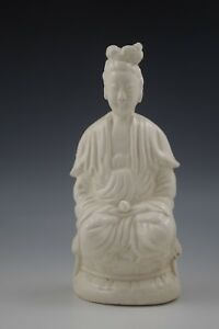 ANTIQUE 1900's CHINA BLANC DE CHINE SITTING GUAN YIN -KWAN YIN STATUE