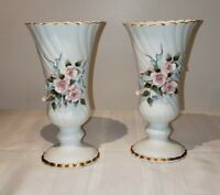 "Vintage Lefton China Hand Painted Porcelain  Pink Roses Vase  #828  6 1/2"" Tall"