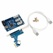 PCI-e Express 1X to 3 Port 1X Switch Multiplier HUB Riser Card +USB Cable 1PC