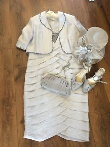 Gorgeous Womans Wedding Outfit Suit Grey With Hat/shoes/dress/jacket/bag