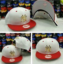 Matching New Era Gold Metal Badge White Red MLB New York Yankee snapback Hat