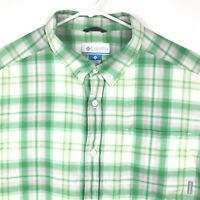 Columbia Adult Extra Large Green White Plaid Button Up Cotton Shirt Mens XL