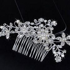 Bridal Jewellery Silver Rhinestone Crystal Wedding Flower Pearls Hair Comb Clip