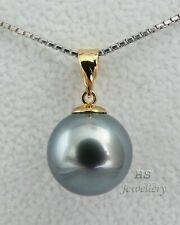 HS Metallic Blue Silver Tahitian South Sea Cultured Pearl 12.02mm Pendant 18KYG