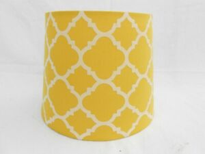 Vintage Mid Century MCM Mustard Yellow Fabric Drum Light Lamp Shade B20