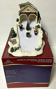 Holiday Time Musical Motion Skiing Scene Animated Christmas Village Accessory