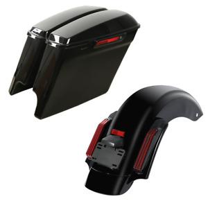 """5"""" Stretched Saddlebag + LED Rear Fender Fit For Harley Electra Glide 14-21 CVO"""