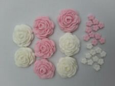 8 Large Pink and White Rose Flowers  Edible Cake Topper