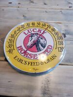 VTG LUCKY HORSE FEED COLORFUL ADVERTISING THERMOMETER SIGN EARL'S FEED AND GRAIN