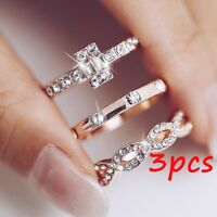 3Pcs Geometry Intersect Crystal Rings Set For Women Girls Finger Ring UK Stock