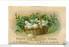 Victorian Trade Card AS BURBANK EASTER & BIRTHDAY CARDS Plymouth MA egg basket