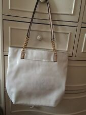 Michael Kors White Logo Shinny Patent Leather Tote Shopper Shoulder Handbag