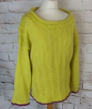Vintage yellow purple cable aran hand knit boat neck jumper wool mix blogger 14