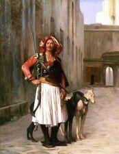 Gerome an Arnaut albanés en el Cairo mosquete perros de caza galgos 6x5 pulgadas impresión