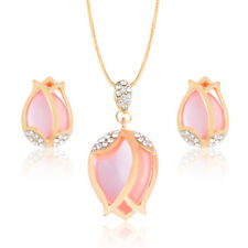 Women Opal Crystal Rose Gold Plated Rhinestone Stud Earring Necklace Jewelry Set