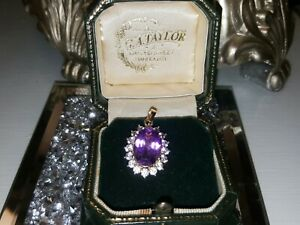 9ct Gold Large morrocon Amethyst Pendant  (Stunning) certificate of authenticity