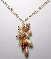 """Glass beaded tassel pendant, 24"""" gold colour chain"""