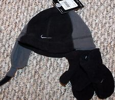 New! Boys Nike Winter Hat/Gloves Lot/Set (Black/Gray Fleece) - Size 12-18-24 mo