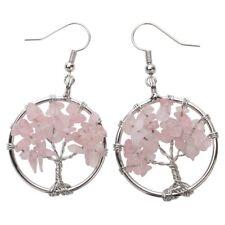Natural Rose Quartz Dangle Hoop Earrings Handcraft Jewelry Gift Women Mom CAE01