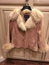 TERRY LEWIS Classic Luxuries Faux Fur Collar & Cuffs Jacket Coat Large NWT Camel