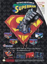 Original DEATH OF SUPERMAN Super Nintendo Sega Genesis video game print ad page