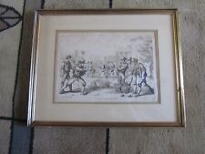 Framed and Matted Antique Print-BOWLING-GAME-FORUM ROMANUM-ROME-Pinelli-1809