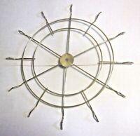 "Vintage 16-1/4"" Sunburst Star 12 Spokes Wheel Shiny Brass Plated Steel Lamp Part"