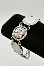 Kirks Folly Seaview Moon Bracelet Silver Rhinestone Chain Link Crystal RARE Bin4