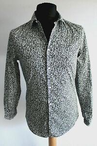 H&M Slim Fit Hemd Gr.S schwarz-weiß gemustert