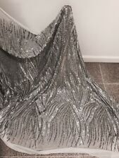 """WHITE 2WAY STRETCH MESH W/SILVER  SEQUINS EMBROIDERY FABRIC 52"""" WIDE 1 YARD"""