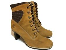 TIMBERLAND Women's 7.5 M Tan Leather Boots High Heel Dress Casual Shoes Lace Up