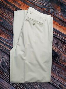 "FJ Footjoy Athletic Fit Mens Tan Golf Pants Size 33/32 Inseam 32"" Poly Spandex"