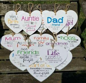 Ceramic Heart Sentimental Signs Mum Dad Nan Aunt Friend Cat Dog Angel Love Moon