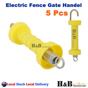 5 Pcs Electric Fence Gate Handle Insulated Spring Handles Yellow