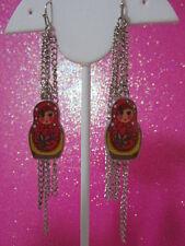 Red Nesting Doll Long Fringe Earrings